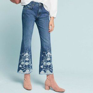 Anthro Pilcro Embroidered Cropped Jeans